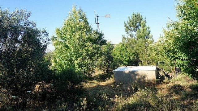 Terreno con alberca y molino eólico