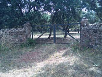 Portera de muros de piedra de la parcela