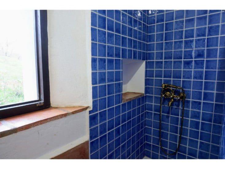 Cuarto de baño decorado en color azul con ventana al exterior